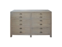LivingStyles Timothy Oak Timber 6 Drawer Chest, Weathered Oak