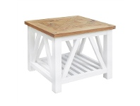 LivingStyles Avista Solid Timber Parquetry Top Side Table