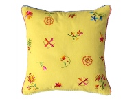 LivingStyles Saavi Embroidery Cotton Cushion - Yellow
