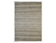 LivingStyles Signature Cowhide Trim Handwoven Wool Rug, 230x160cm, Brown / Cream