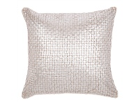 LivingStyles Freya Cable Knit Silver Foiled Cotton Scatter Cushion