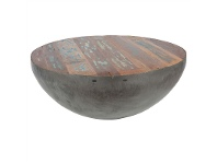 LivingStyles Stubbo Recycled Boat Timber Top 90cm Round Iron Coffee Table