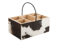 LivingStyles Turill Cow Hide Covered Mango Wood Cutlery Holder