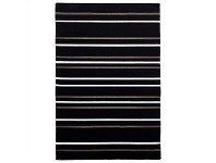 LivingStyles Skandi Oslo Stripe Flatwoven Wool Rug, 225x155cm, Black/Neutral
