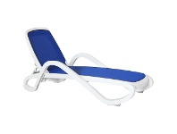LivingStyles Barbados Italian Made Commercial Grade Stackable Sun Lounge, Blue / White