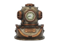LivingStyles Veronese Cold Cast Bronze Coated Steampunk Statue with Clock, Diving Helmet