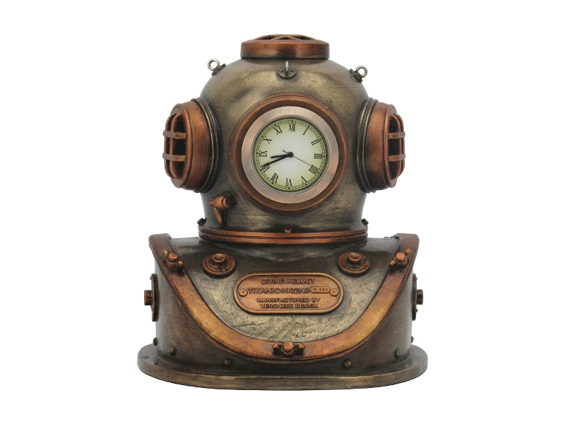 Veronese Cold Cast Bronze Coated Steampunk Statue with Clock, Diving Helmet