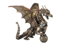 LivingStyles Veronese Cold Cast Bronze Coated Steampunk Statue, Dragon Holding Sphere