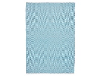 LivingStyles Villa Herringbone Hand Loomed Cotton Rug in Turquoise - 220x150cm
