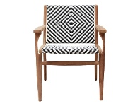 LivingStyles Martock Poly Rattan and Teak Timber Outdoor Dining Armchair
