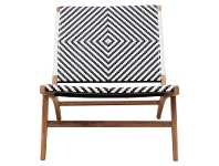 LivingStyles Martock Poly Rattan and Teak Timber Outdoor Lounge Chair