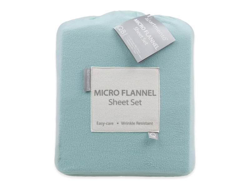 Apartmento Micro Flannel Double Bed Sheet Set - Turquoise