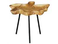 LivingStyles Gable Teak Timber and Iron Side Table