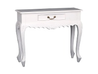 LivingStyles Queen Ann Nouveau Mahogany Timber Console Table, 90cm, White