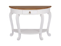 LivingStyles Cabriol Mahogany Timber Half Round Sofa Table, Caramel / White