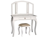 LivingStyles Queen Ann Mahogany Timber Dressing Table with Stool, White