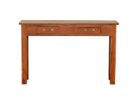LivingStyles Malacca Mahogany Timber 2 Drawer Sofa Table, 120cm, Light Pecan