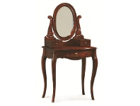 LivingStyles Queen Ann Mahogany Timber Oval Mirror Dressing Table, Mahogany