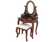 LivingStyles Queen Ann Mahogany Timber Oval Mirror Dressing Table with Stool, Mahogany