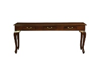 LivingStyles Queen Ann 3 Drawer Solid Mahogany Sofa Table W-Cabriole Legs - Mahogany