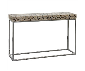 Iberia Driftwood and Stainless Steel 120cm Console Table