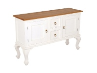 LivingStyles Queen Ann Mahogany Timber 2 Door 2 Drawer Sofa Table, 130cm, Caramel / White