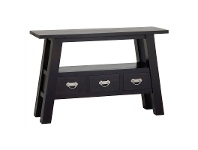 LivingStyles Showa Solid Mahogany Timber 3 Drawer Console Table - Chocolate