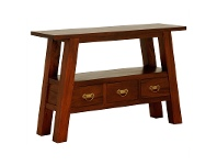 LivingStyles Showa Solid Mahogany Timber 3 Drawer Console Table - Mahogany