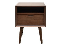 LivingStyles Resvol Wooden Square Bedside Table, Walnut