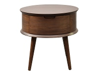 LivingStyles Resvol Wooden Round Side Table, Walnut