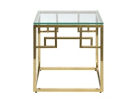 LivingStyles Mackerel Glass & Stainless Steel Square Side Table, Gold