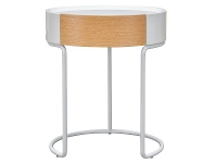 Nina Round Side Table, White / Beech