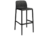 LivingStyles Bora Italian Made Commercial Grade Stackable Indoor/Outdoor Bar Stool , Anthracite