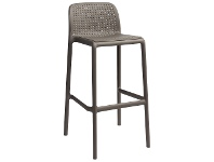 LivingStyles Bora Italian Made Commercial Grade Stackable Indoor/Outdoor Bar Stool , Taupe