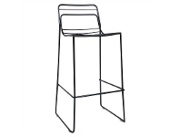 LivingStyles Cage Commercial Grade Steel Stackable Indoor/Outdoor Bar Stool, Black
