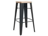 LivingStyles Cognac Commercial Grade Steel Counter Stool with Timber Seat, Black