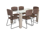 LivingStyles Emilio 7 Piece Glass Top Dining Table Set, 160cm, Brown Arezzo Chair
