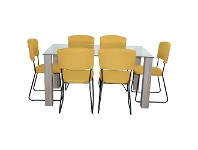 LivingStyles Emilio 7 Piece Glass Top Dining Table Set, 160cm, Yellow Arezzo Chair