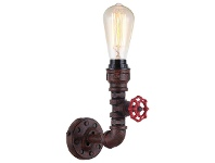 LivingStyles Steam Aged Iron Pipe 1 Light Wall Sconce