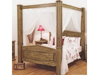 LivingStyles Suffolk Solid Pine Timber Poster Bed, Queen