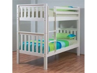 LivingStyles Sussex Wooden Single Bunk Bed without Trundle - Arctic White
