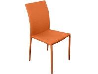 LivingStyles Sykes Fabric Upholstered Steel Dining Chair - Orange