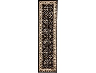LivingStyles Sydney Classic Turkish Made Oriental Runner Rug, 300x80cm, Black / Ivory