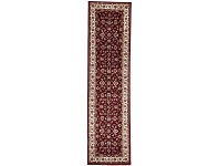 LivingStyles Sydney Classic Turkish Made Oriental Runner Rug, 300x80cm, Red / Ivory