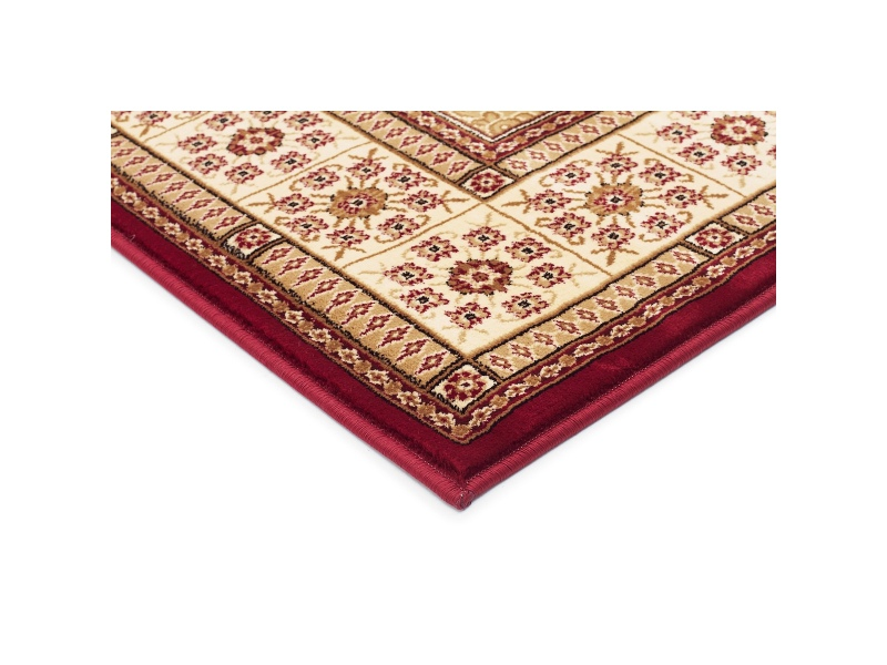 Sydney Traditional Tile Turkish Made Oriental Rug, 150x80cm, Red / Ivory