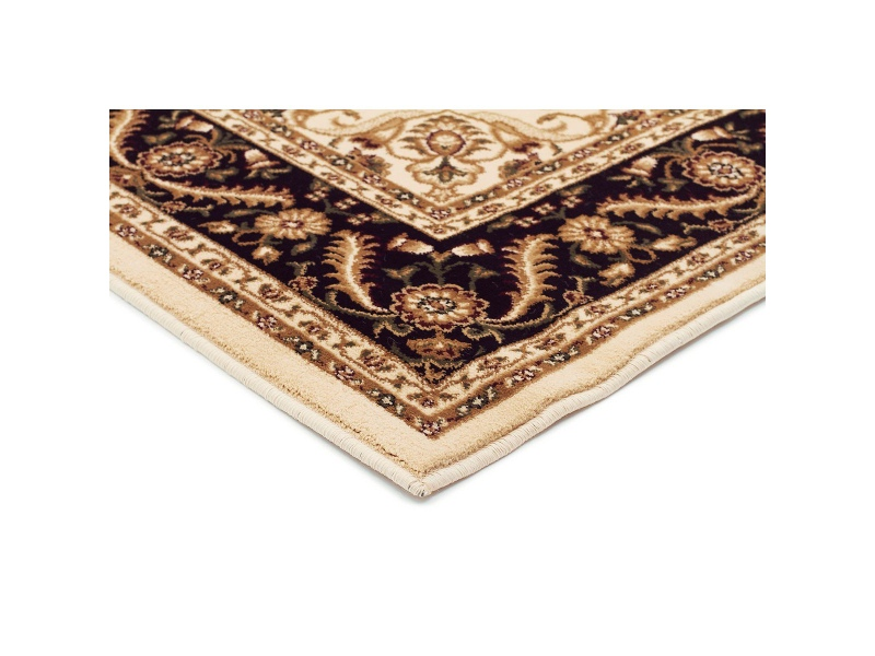 Sydney Medallion Turkish Made Oriental Rug, 290x200cm, Ivory / Black