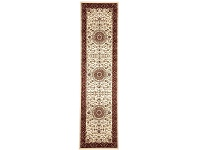 LivingStyles Sydney Medallion Turkish Made Oriental Runner Rug, 300x80cm, Ivory / Red