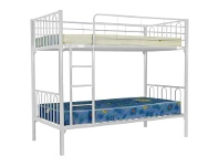 LivingStyles Sydney Metal Single Bunk Bed - White
