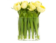 Artificial Tulip in Oval Glass Vase with Water