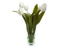 LivingStyles Artificial Tulips in Glass Vase, White